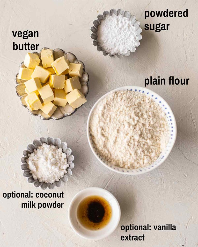 Flatlay of ingredients for the Chinese-style shortcrust