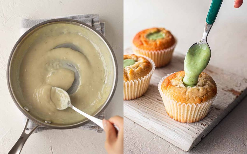 Two image collage. One image showing uncoloured lime curd filling and second image shows small spoon scooping coloured green lime curd into the middle of a golden cupcake