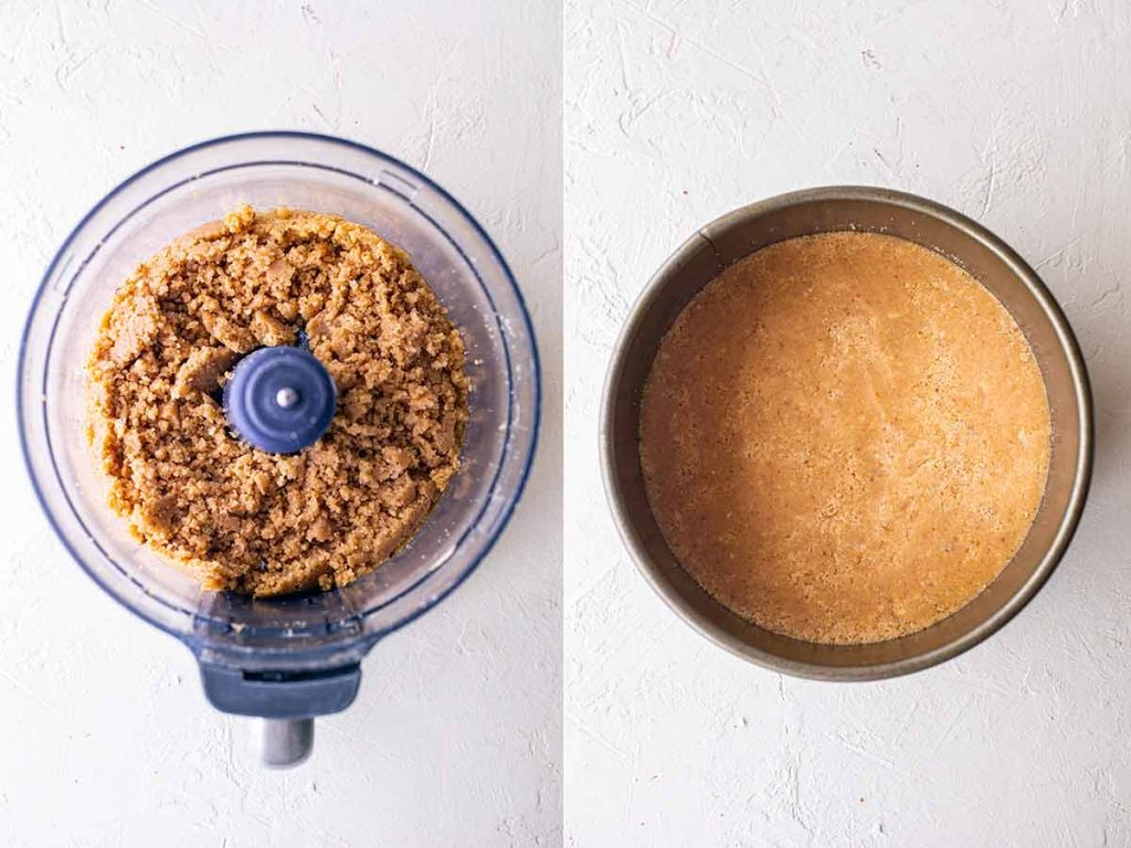 Two image collage showing how to make the graham cracker crust for the vegan cheesecake