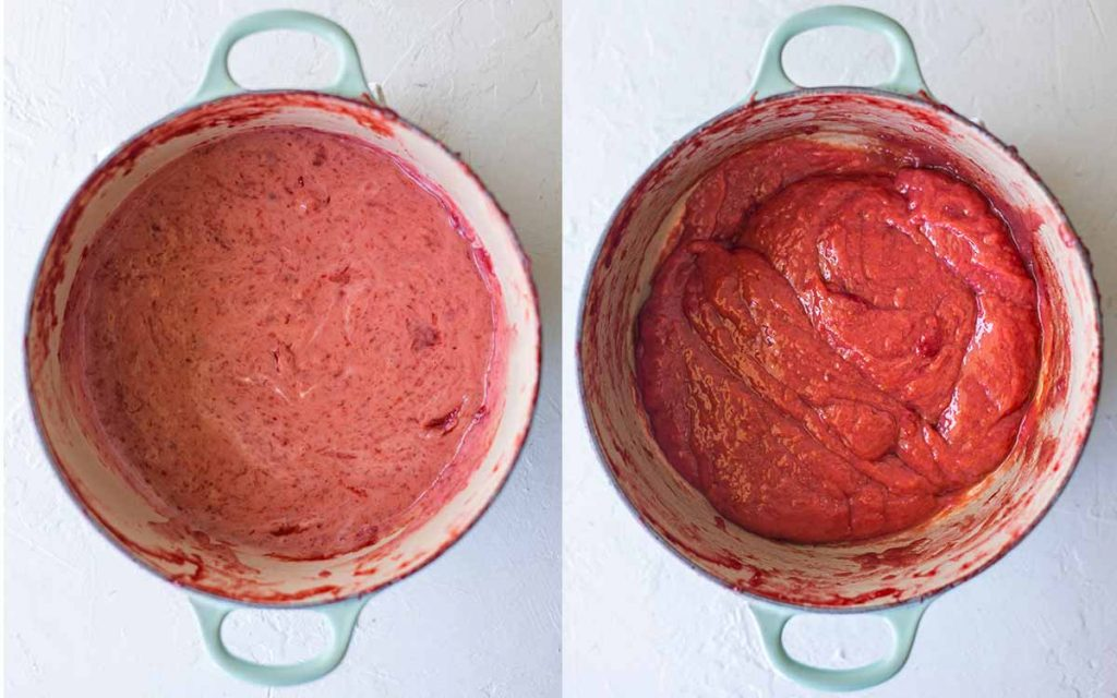 Two image collage of strawberry custard mixture. First image shows uneven creamy pink mixture. Second image shows thick custard-like fruity mixture.