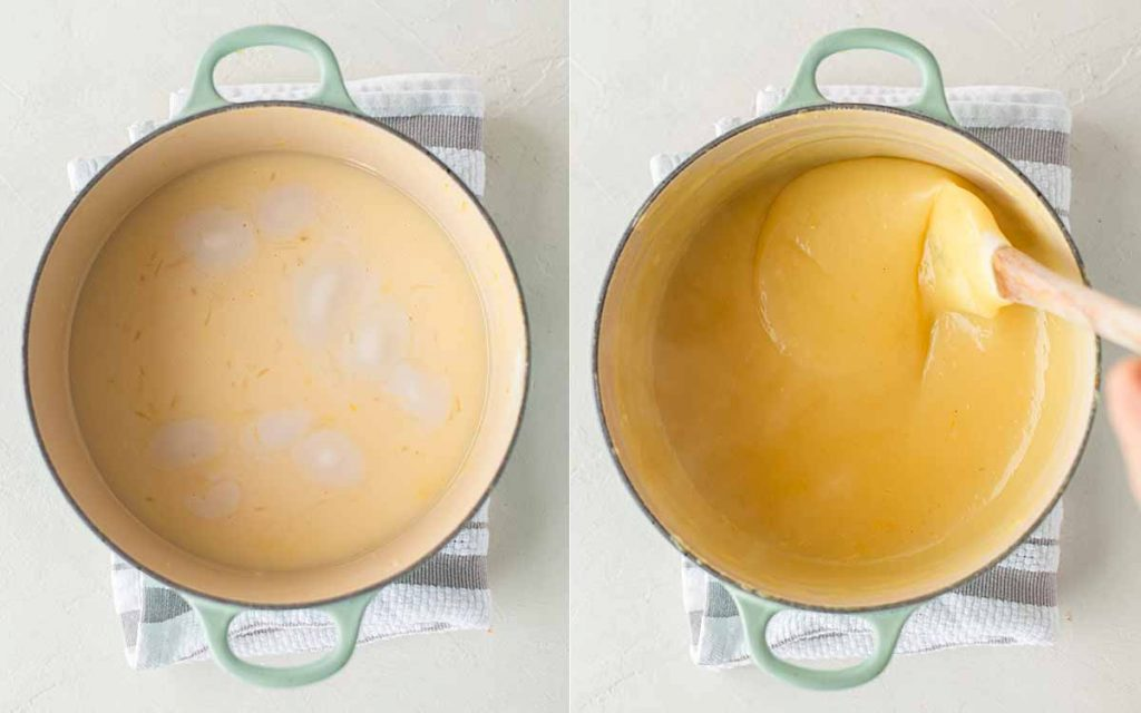Two image collage of making the vegan lemon curd in a saucepan