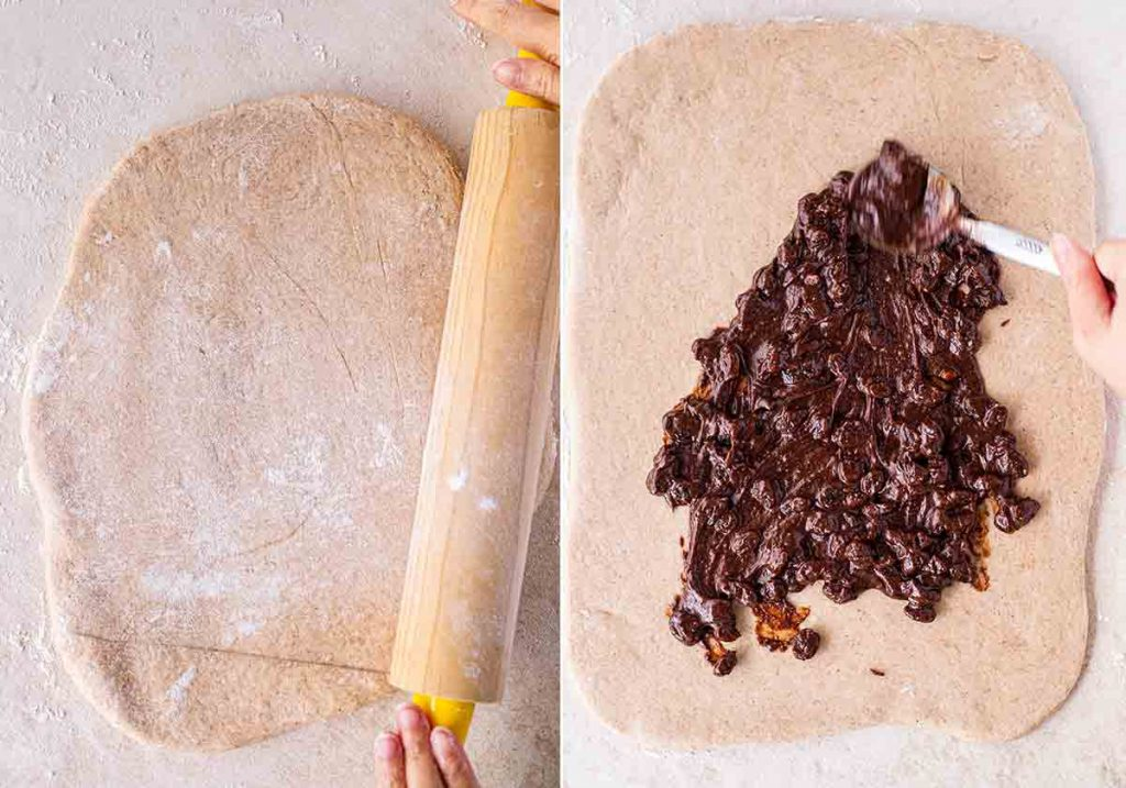 Two image collage. First image shows hands rolling out cinnamon roll dough. Second image shows a hand spreading thick spiced filling studded with sultanas on the dough with a spoon.