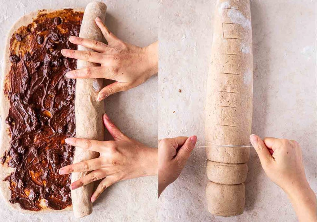 Two image collage showing two hands rolling the cinnamon roll dough and using dental floss to cut rolls out of the dough.