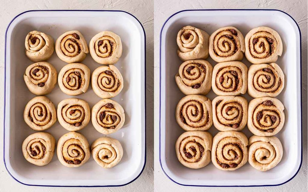 Two image collage of second rise of hot cross cinnamon rolls in baking tray