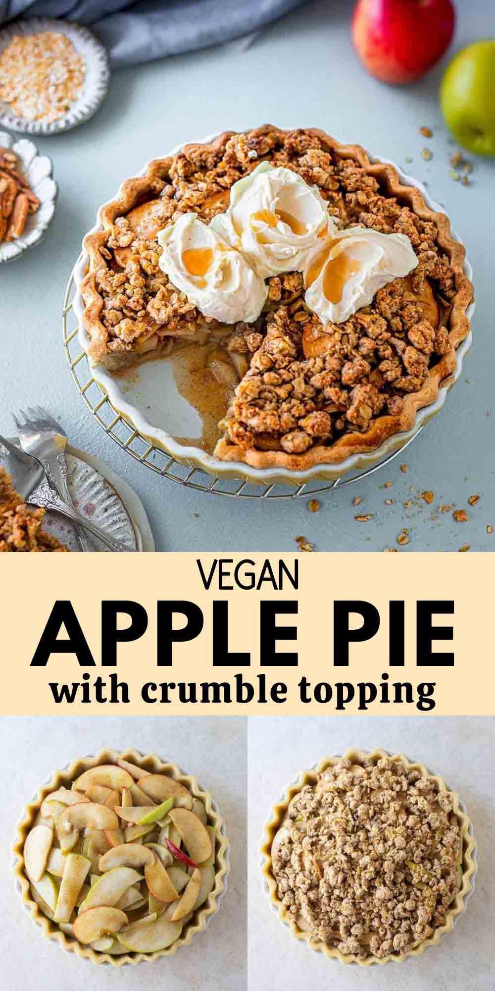 Easy Vegan Apple Crumble Pie