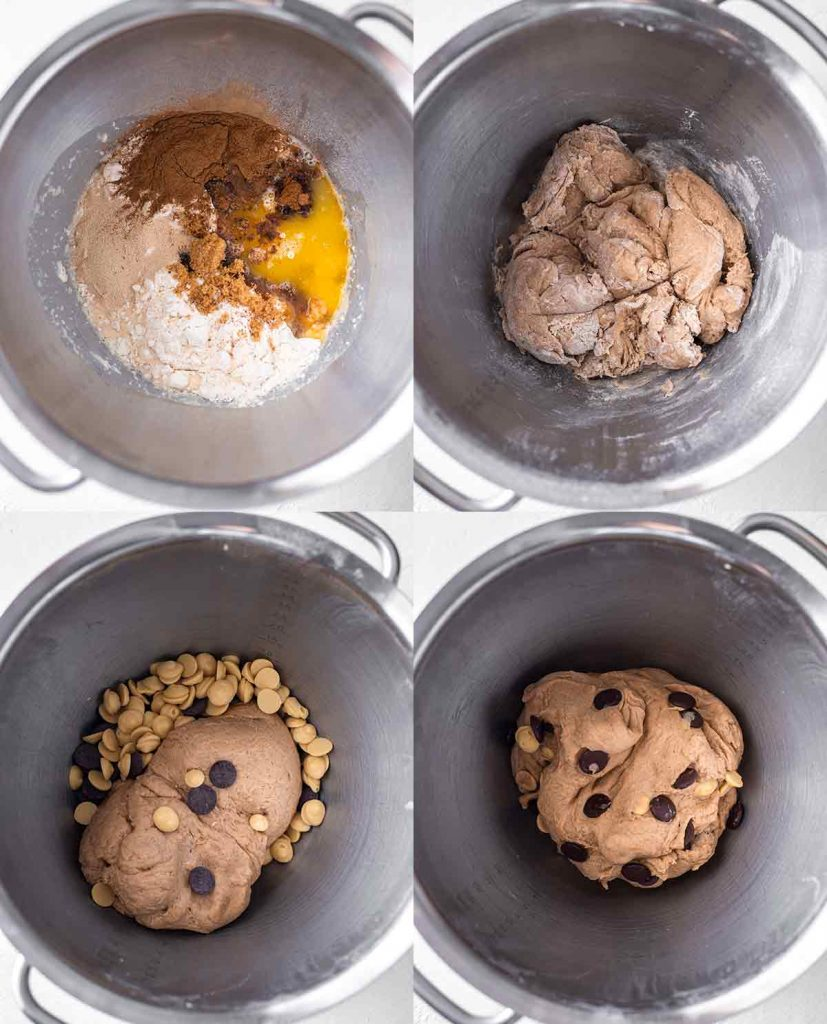 Four image collage showing how to make the vegan hot cross bun dough