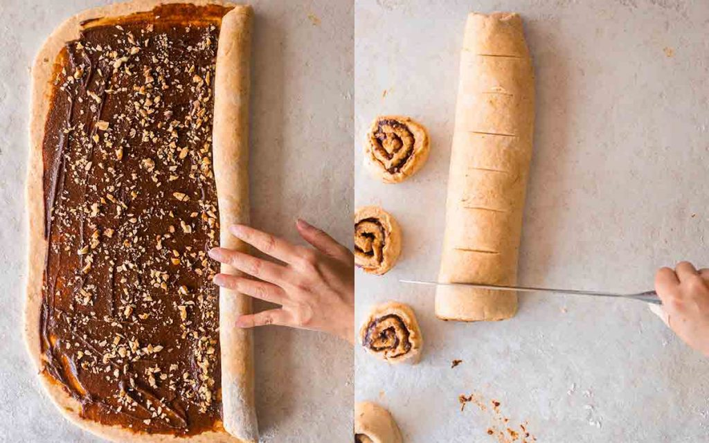 Two image collage of rolling and cutting the log of cinnamon rolls.