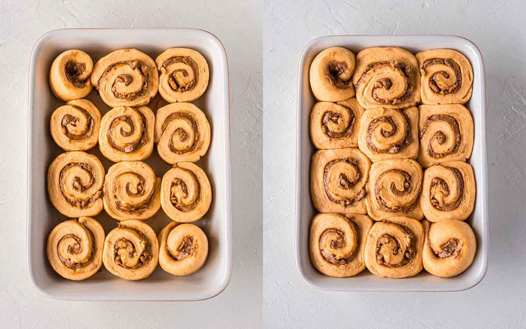 Two image collage of second rise of cinnamon rolls.