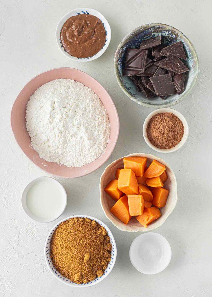 Flatlay of ingredients for vegan brownies