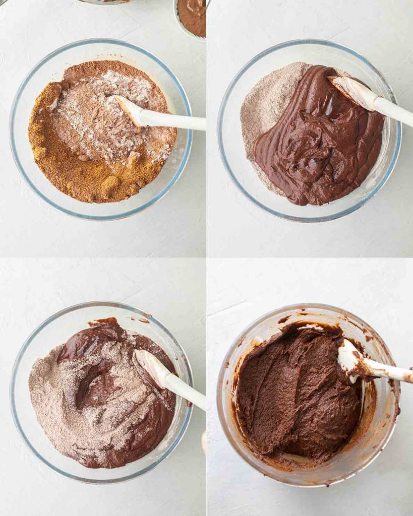 Four image collage showing how to mix the dry and wet ingredients for the brownies