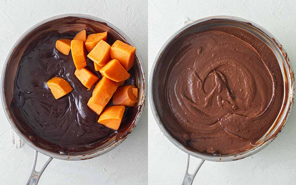 Two image collage of saucepan with chocolate ganache and saucepan with chocolate ganache blended with sweet potato