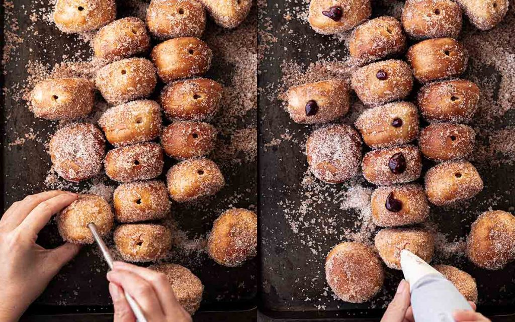 Two image collage of vegan doughnuts lined up on a baking tray. A pair of hands is holding one vegan doughnut inserting a reusable straw then inserting a piping bag filled with jam.