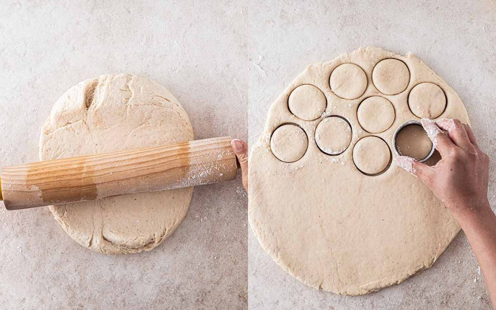 Two image collage of dough rolled on a floured surface and with a hand cutting out circles (donuts) from the dough.