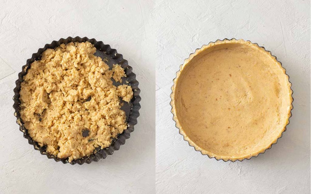 Two image collage of assembling the vegan graham cracker pie crust