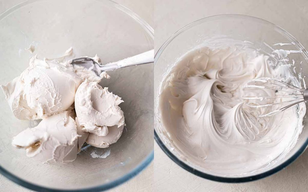 Two image collage of coconut whipping cream for banoffee pie
