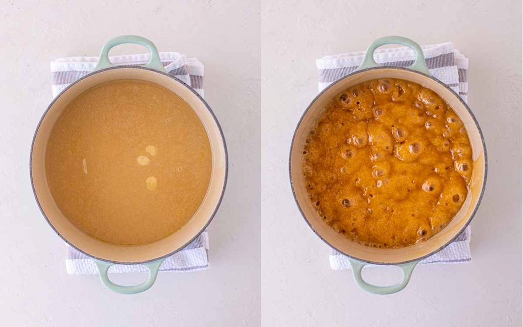 Two image collage showing different stages of vegan caramel