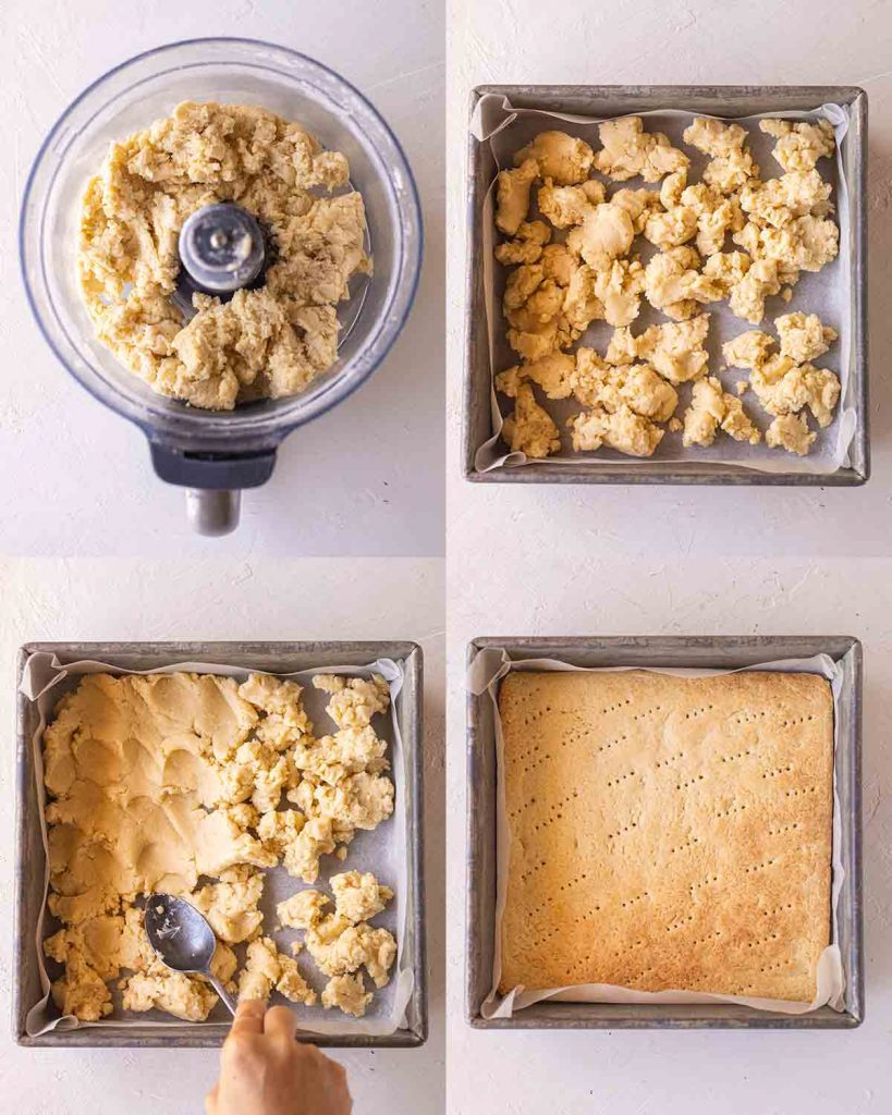 4 image collage showing how to make the shortcrust base for the vegan caramel slice