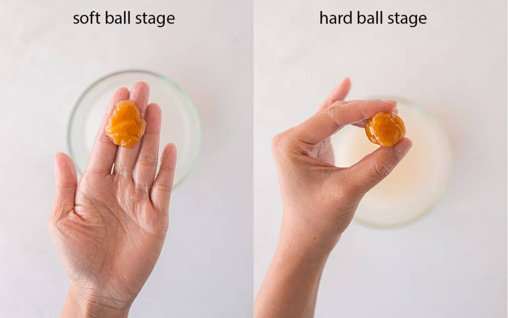Two image collage showing soft ball and hard ball stage when making vegan caramel