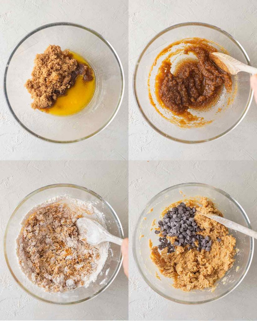 Four image collage showing how to make vegan chocolate chip cookie dough