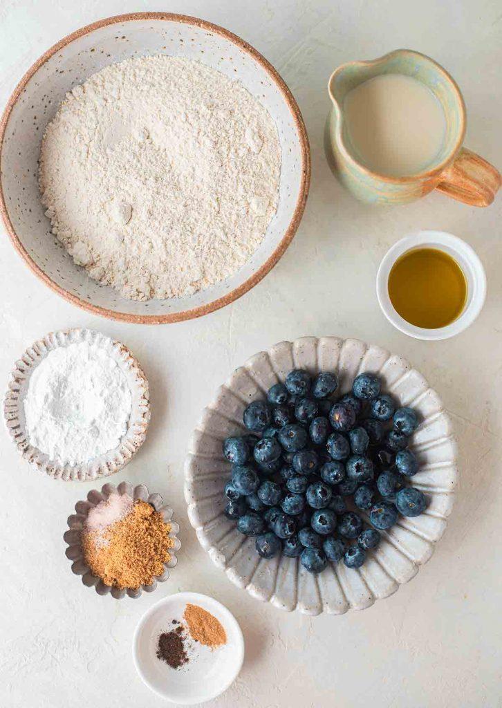 Flatlay of ingredients for vegan blueberry pancake