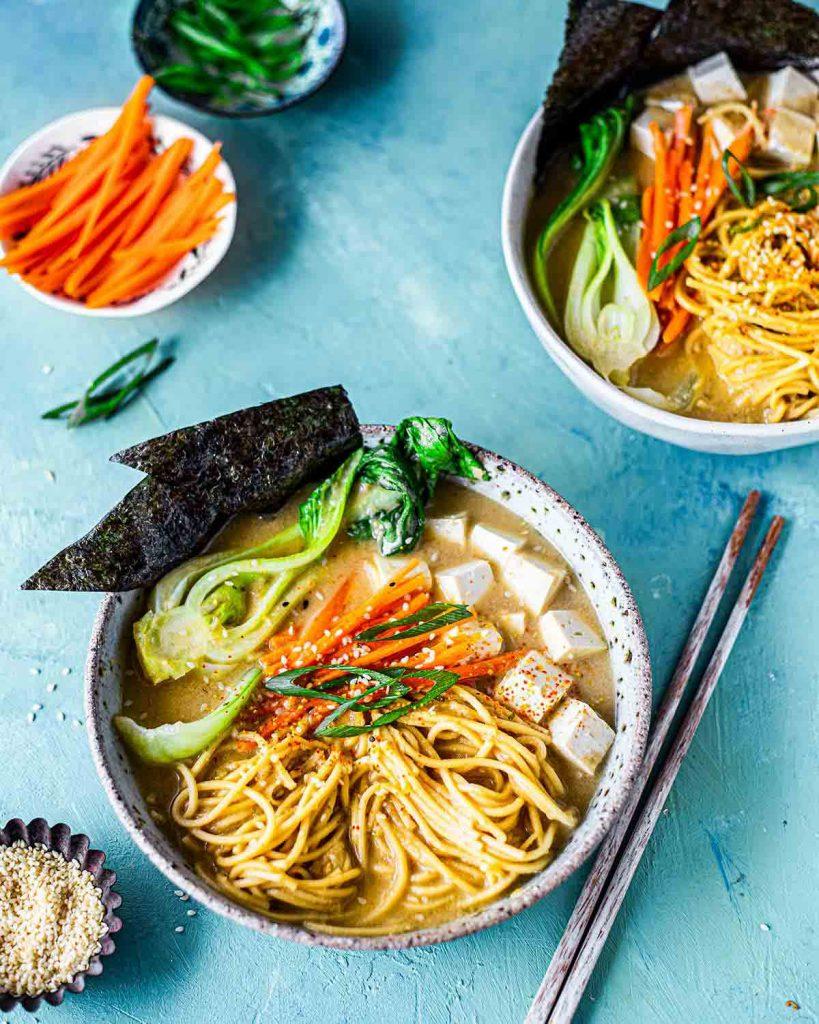 Easy quick vegan ramen noodle soup with miso sesame broth