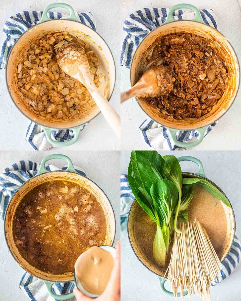 Step-by-step pictures of how to make easy vegan ramen in one pot