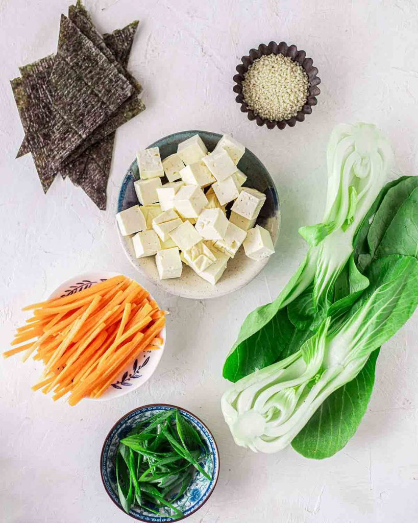 Optional add-in ingredients for easy and quick vegan ramen