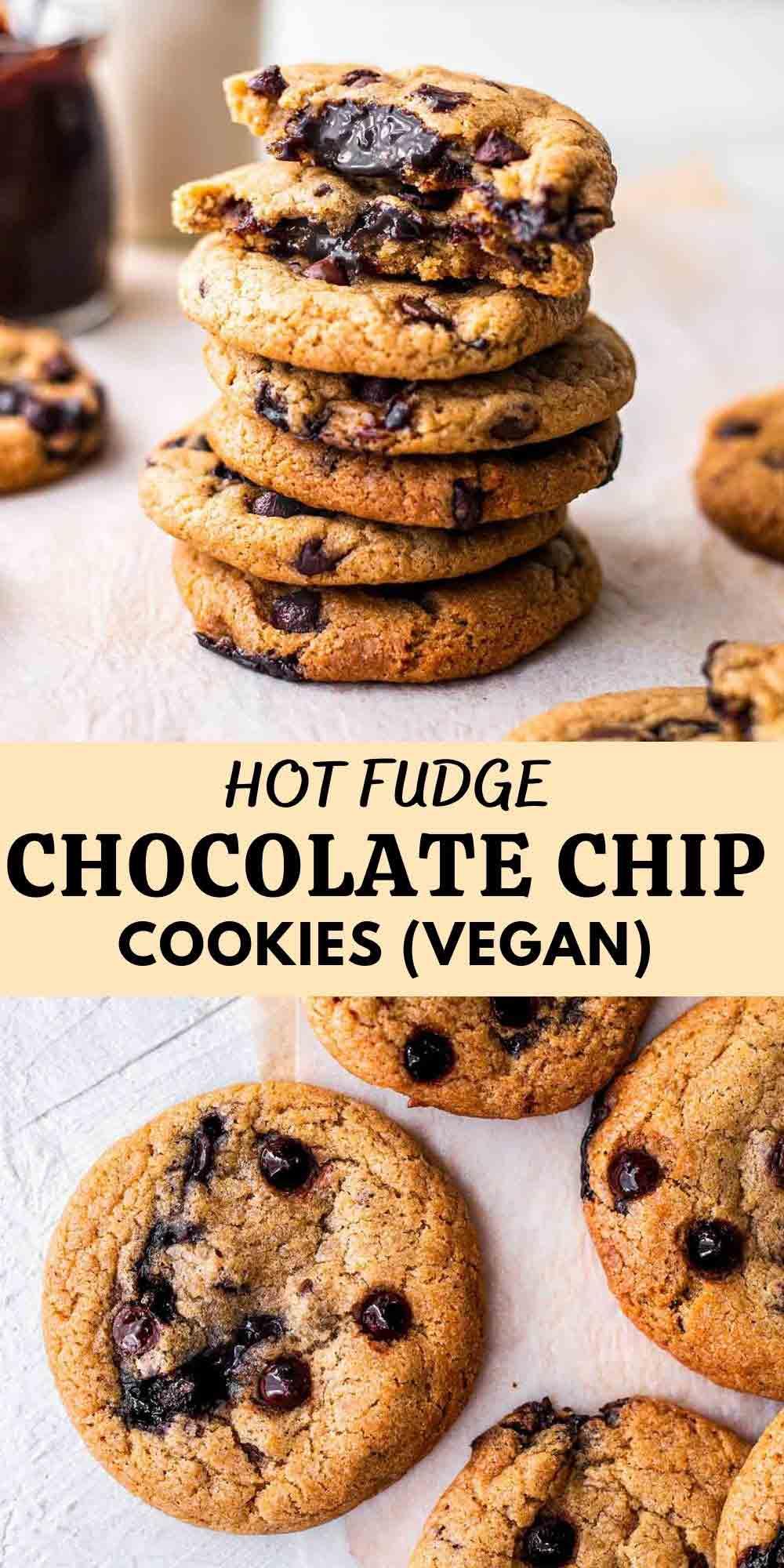 Fudge stuffed chocolate chip cookies (vegan)