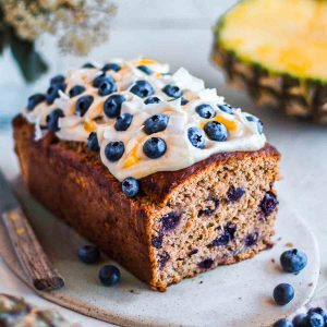 sugar free vegan hummingbird cake with blueberries