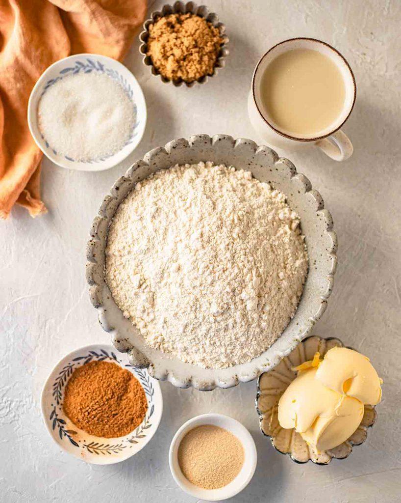Flatlay of ingredients for vegan cinnamon buns