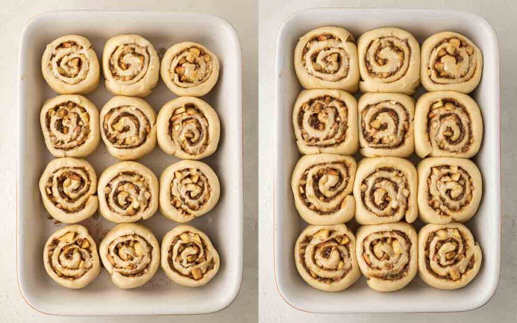 Two image collage of second rise of cinnamon rolls