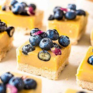 vegan lemon bars with blueberries