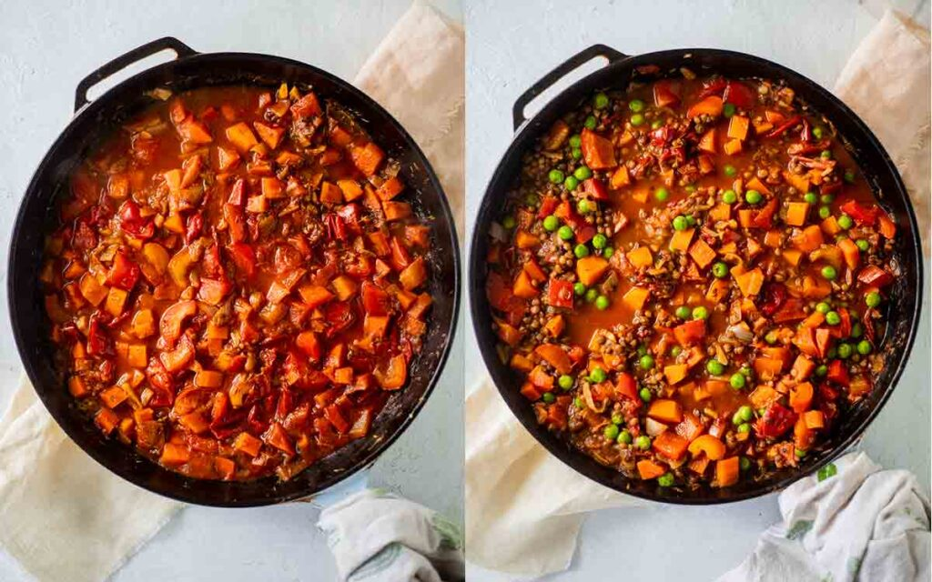 Two image collage of making the filling for the pie