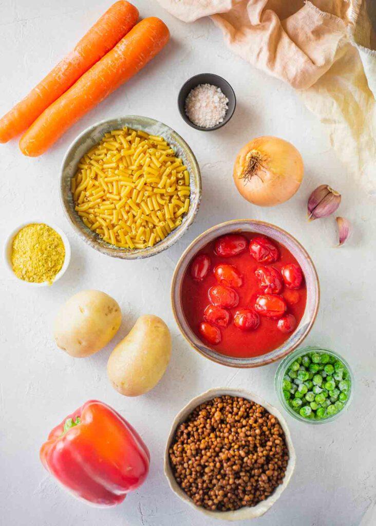 Flatlay of ingredients for vegan pie
