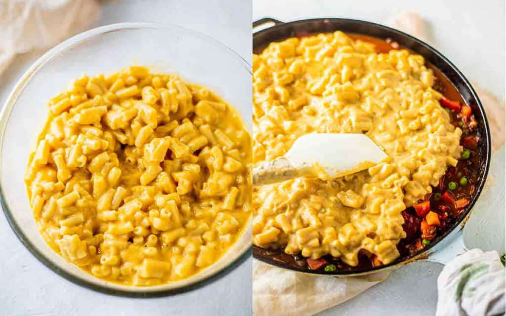 Assembling the Vegan Mac and Cheese Shepherd's Pie
