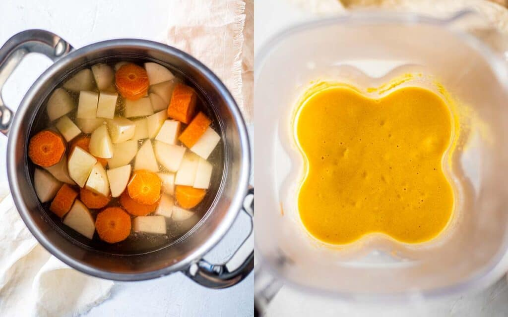 Two image collage of making the sauce for the Vegan Mac and Cheese