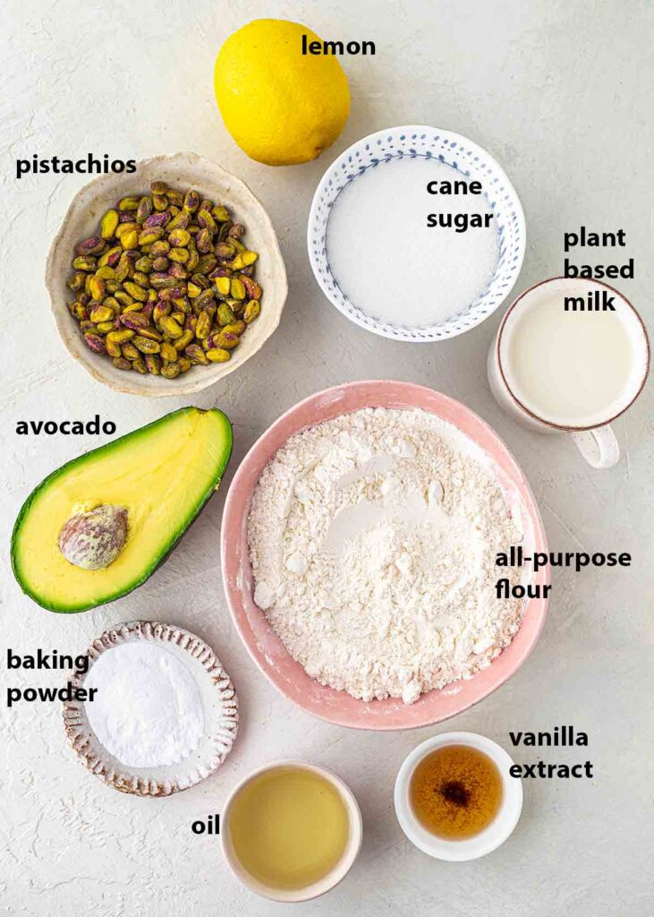 Flatlay of vegan-friendly ingredients for the cake