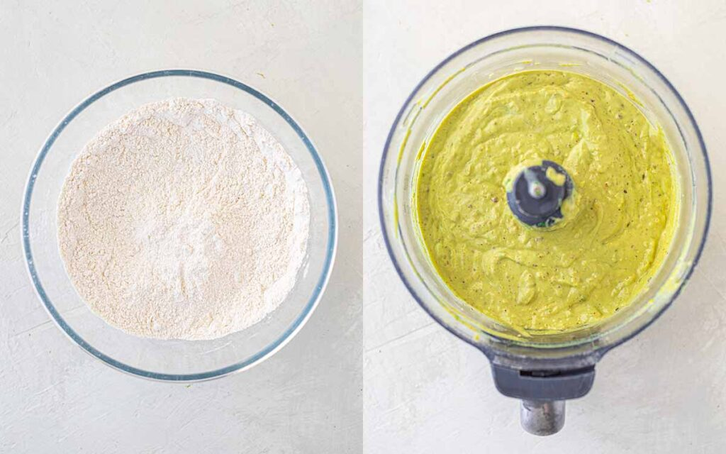 Two image collage of mixed dry ingredients (in a bowl) and mixed wet ingredients (in a food processor)