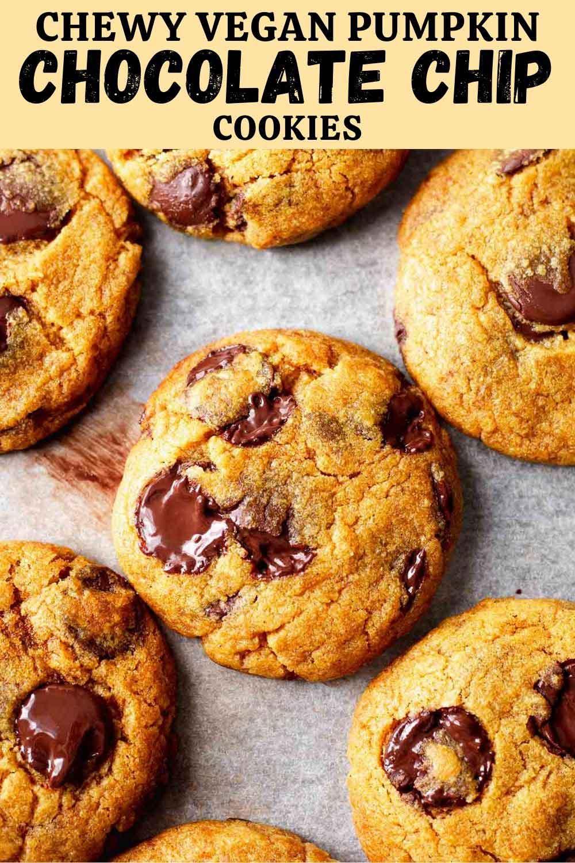 Chewy Vegan Pumpkin Chocolate Chip Cookies