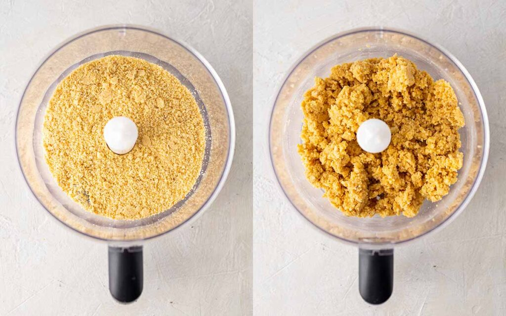 Two image collage of graham cracker crust in food processor