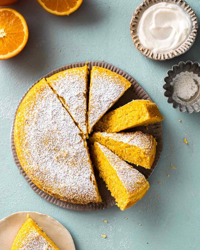Orange cake on plate