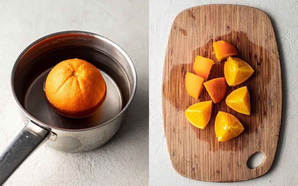 Two image collage of whole orange in saucepan and chopped roughly on a chopping board