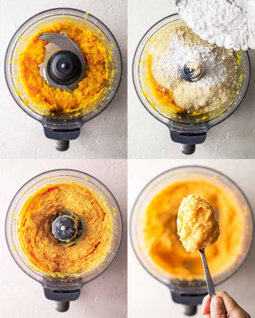 Four image collage of making the orange cake in a food processor