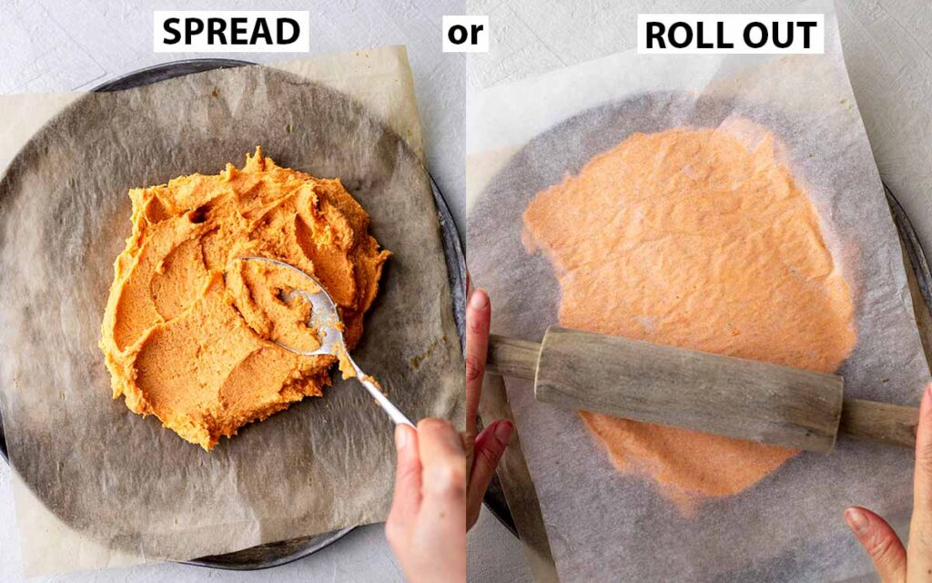 Two image collage showing different ways to flatten sweet potato pizza crust.