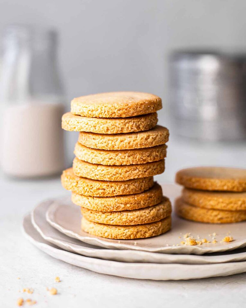 Stack of vegan almond flour shortbread cookies