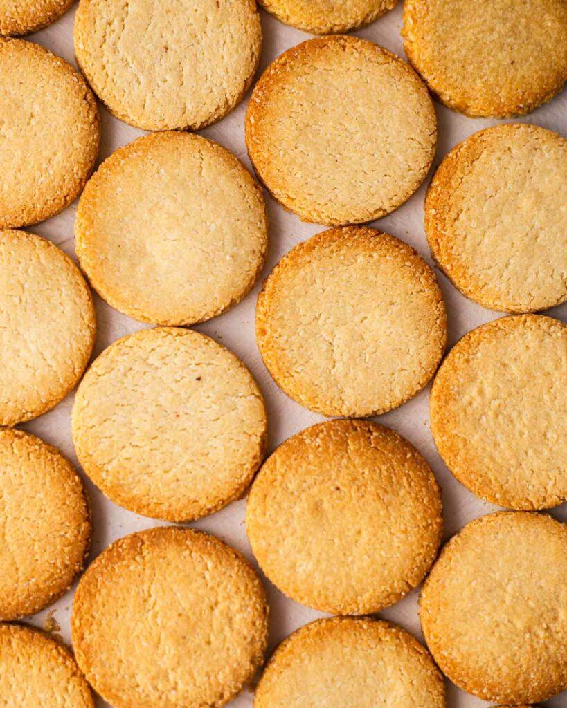 Flatlay of golden yet oil free cookies