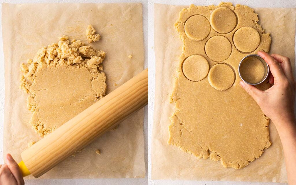 Two image collage showing how to roll the crumbly gluten free shortbread dough with rolling pin and cutting shapes using a cookie cutter