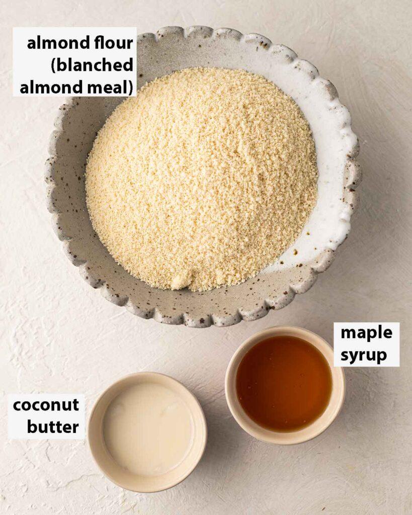 Flatlay of 3 ingredients for vegan gluten free cookies