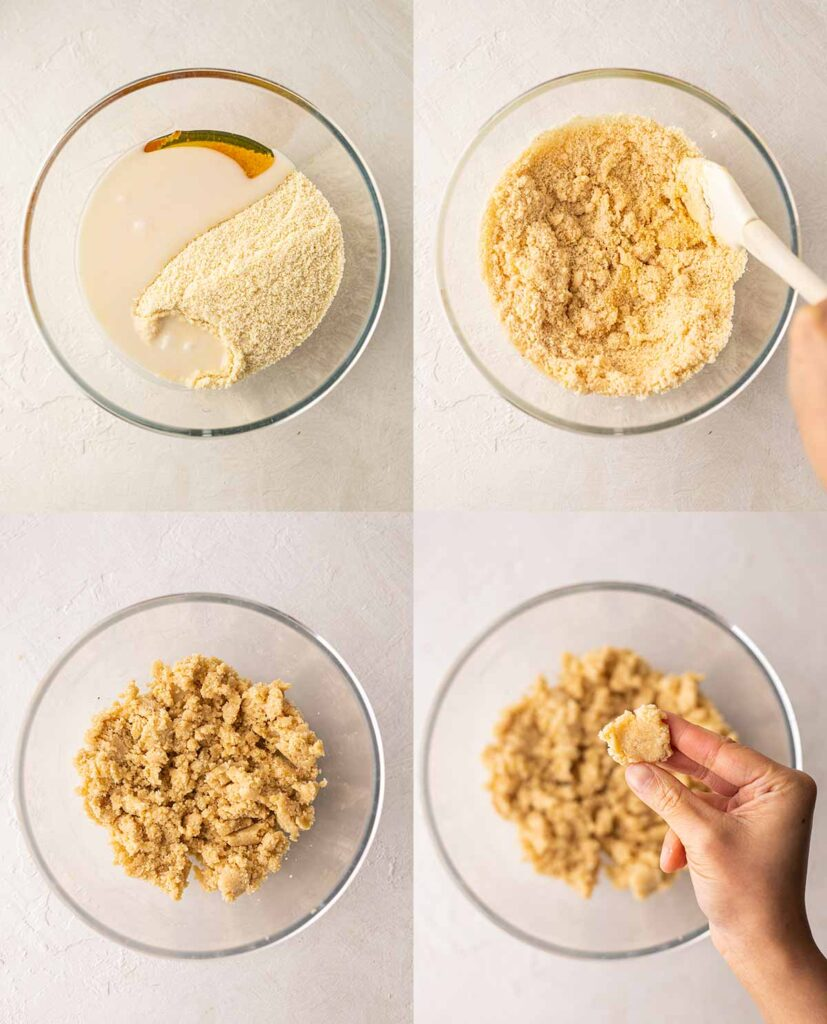 Four image collage showing vegan shortbread cookie dough in mixing bowl.