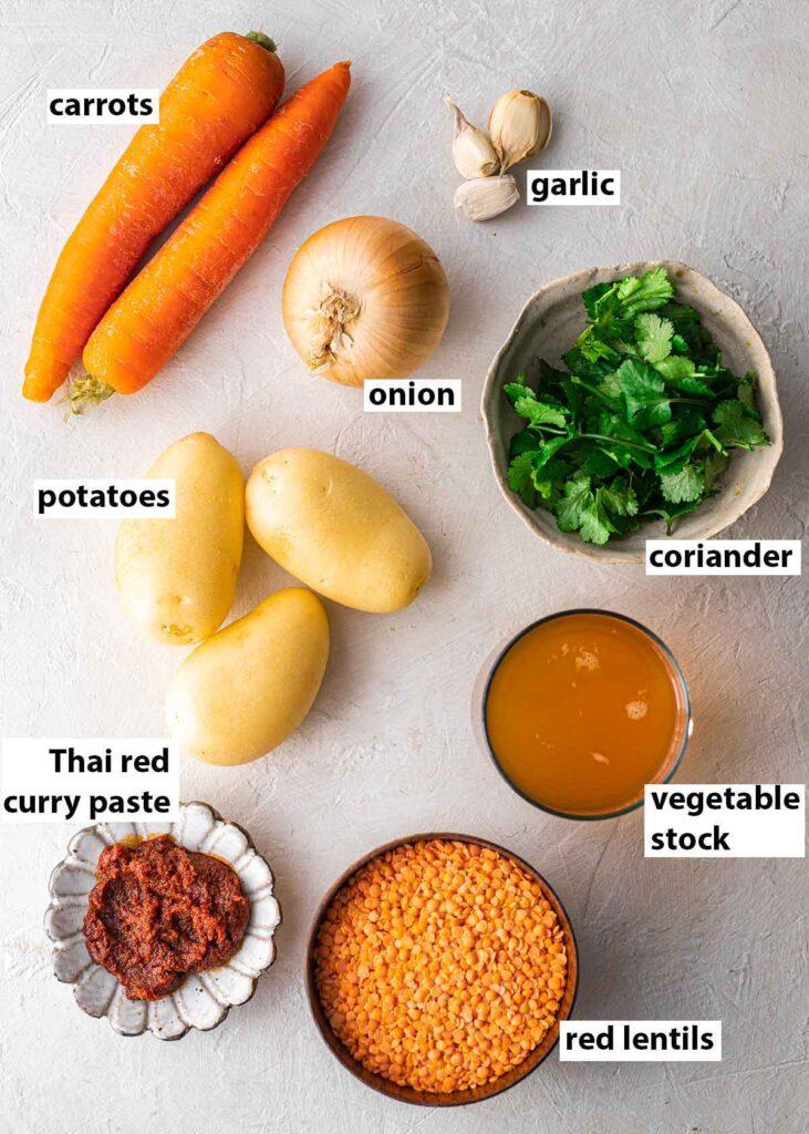 Flatlay of ingredients for Thai lentil soup.